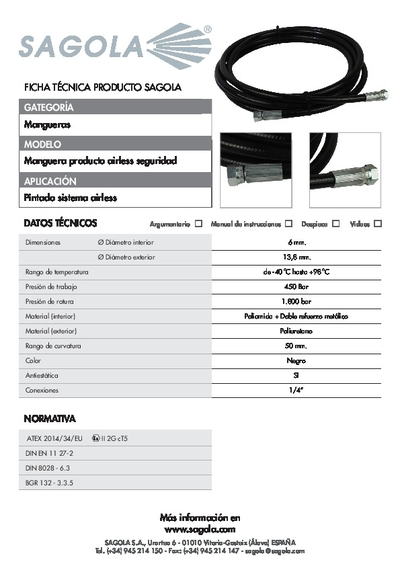 Ficha técnica Manguera Airless seguridad