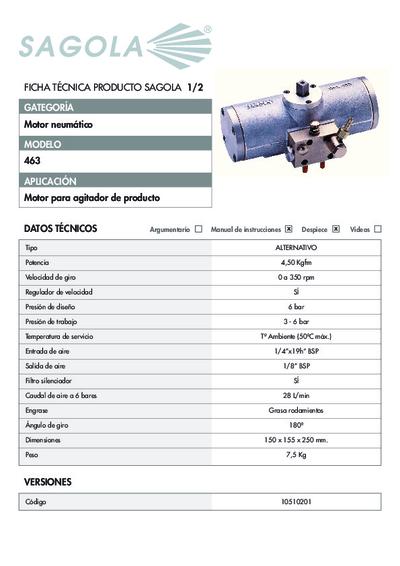 Ficha técnica Motor Neumático 463