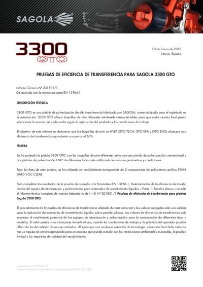 Prueba de eficiencia de transferencia Sagola 3300 GTO