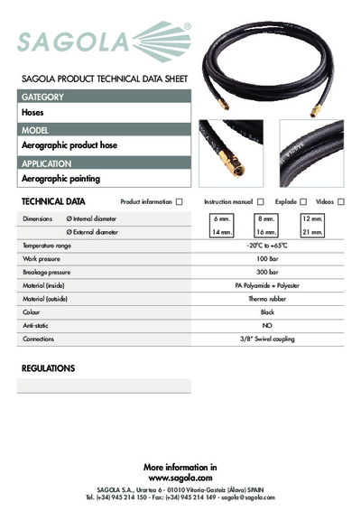 Technical data sheet Aerographic Product hose