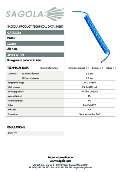 Technical data sheet Air hose spiral PU