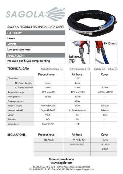 Technical data sheet Low Pressure hose