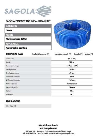 Technical data sheet Multi-use Air hose