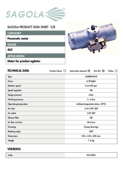 Technical data sheet Pneumatic motor 463