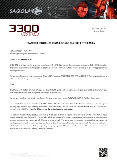 Transfer efficiency tests for Sagola 3300 GTO